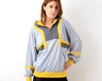 SALE Vintage Grey Hooded Adidas Trefoil Track Jacket Size S