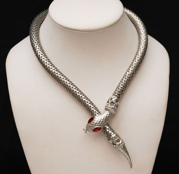 Silver Mesh Snake necklace - red  Glass eyes - Serpent collar necklace