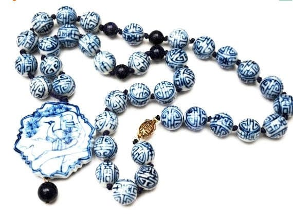 Vintage Chinese  porcelain  Bead Necklace - blue and white character - Lapis gemstone - Pendant with  Bird Design
