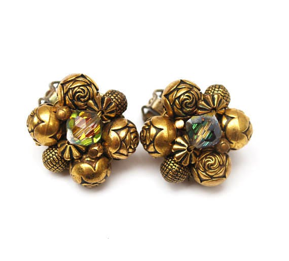 Brass Bead cluster earrings - Aurora Borealis crystal bead - Clip on earring