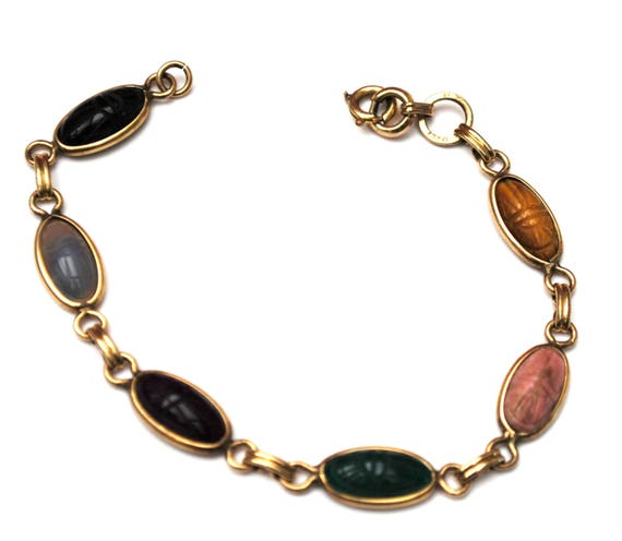 Gemstone Link Scarab Bracelet -12 kt gold Filled - signed Sojar - Egyptian Revival - Beetle - tiger eye -agate -onyx -Jasper