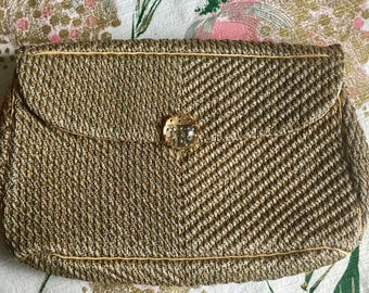 1940's METALLIC corded EVENING BAG Clutch purse  2D-114