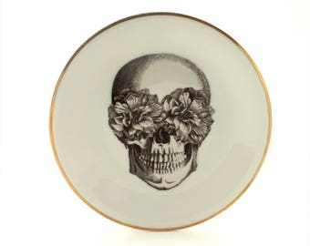 """Sugar Skull Plate Dish, 7.48"""" Vintage Porcelain, Day of the Dead, Halloween Plate, Halloween Decoration, Mexico, Gold Rim China, Altered Art"""