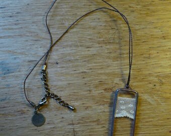 Rectangle pendant - 60 - antique lace and glass