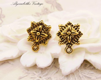 Antique Gold Baroque Style Floral Earring Posts with Loop Ear Studs Post Earring Findings Jewelry Supply - 2
