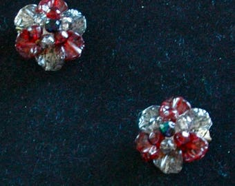 "Vintage Earrings Made in Germany - ""Frau Red and Gray"" - SALE"