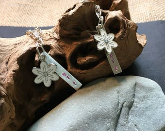 Silver hand-stamped BFF necklace pair with flower charm