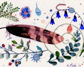 sparrow feather original watercolor painting part of sparrow collection