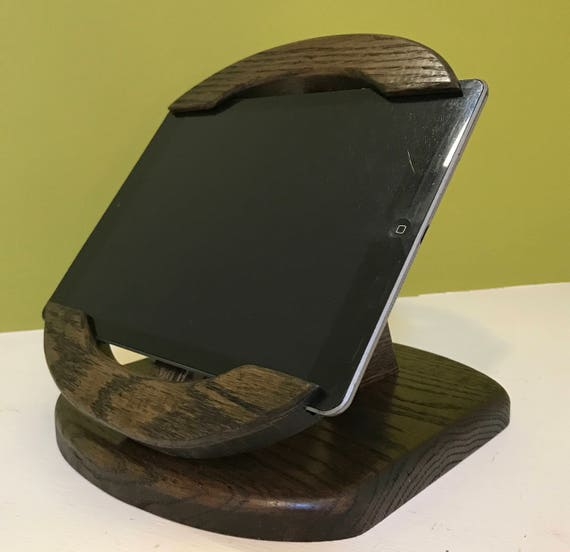 Unique Style Tilting iPad Air Stand for Square Retail App and other POS Card Readers -  Oak with Ebony Finish