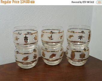 SALE - Six Gold Leaf Roly Poly Glasses