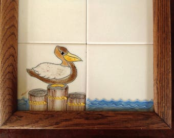 Vintage Dry Erase Pelican Tile Note Board, Message Board, Bulletin Board, Beach Home Decor, Hostess Gift, Summer Vacation Condo Cabin