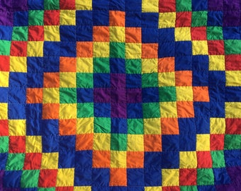 Vintage Rainbow Patchwork Quilt, Handmade Blanket, Lightweight Quilt Topper, Bed Duvet Cover, Red, Orange, Yellow, Green, Blue, Purple