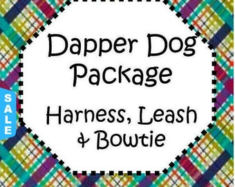 Sale - 40% Off Traditional or Step-In Harness, 6 FT Leash Package & Bow Tie! Dog Harness Set