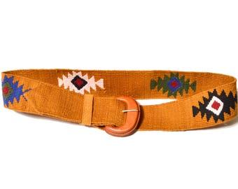 80s Woven Belt Geometric Print Made in Guatemala Brown