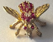 18K Gold Insect Ruby and Diamond Lapel Pin Vintage Miniature Insect Brooch Real Rubies Diamond Center