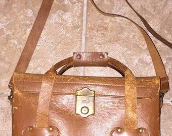 SALE Vintage Leather Camera Bag Large Weathered Leather Camera Case Long Detachable Strap Holds Minolta Nikon w/ Accessories