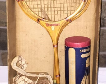 Vintage Badminton Set 1950s Wooden Rackets and Feather Shuttlecocks in Orig Box w Net Viscount Rackets and Chet Goss ShuttleCocks