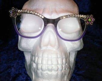 Brass Flower Crystal - Eyes 1950's Spec Trims inspired clip on eyeglasses trim