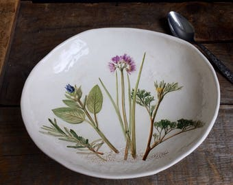 Herb Bowl, large Herb Serving Dish, Herb plate, chive, Rosemary, Thyme, Sage pottery dish, Sage Pottery Bowl, country kitchen Herb decor