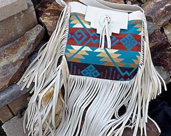20% OFF Southwestern Pendleton wool and light tan leather crossbody purse