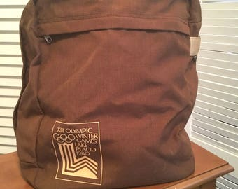 Vintage 80s Olympic Souvenir Tote Backback in Brown Nylon with Olympic Winter Games Lake Placid 1980 Logo