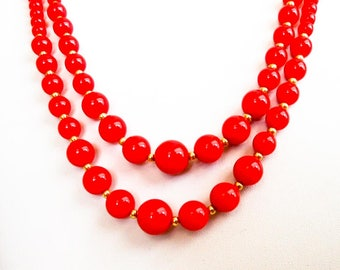 Vintage Acrylic Red Bead Necklace   25 Inch Double Strand     Japan      Oxblood Red