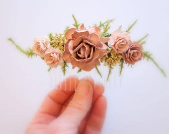 Bridal Hair Comb, Blush Hair Comb, Bridesmaids Hairpiece, Bridal Floral Comb, Blush Wedding, Rose Hair Comb, DUSTY ROSE