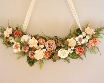 Modern Wreath, Spring Wedding Decor, Nursery Decor Girl, Simple Wreath, Mothers Day Gift, Peach Coral Blush Wreath, Wreath Alternative