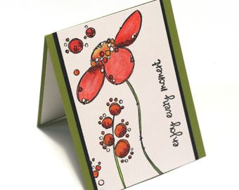 red daisy flower card, doodle floral blank card, birthday cards, enjoy every moment