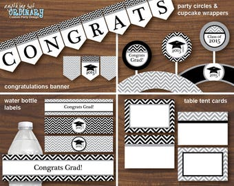 Printable 2017 Grad Party Decorations in Black and White, Chevron DIY Party Pack,  INSTANT DOWNLOAD, digital file