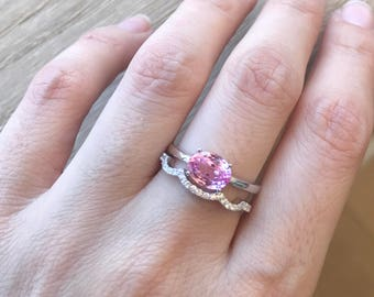 oval pink topaz ring pink quartz promise ring stackable pink ring sterling silver - Pink Wedding Ring