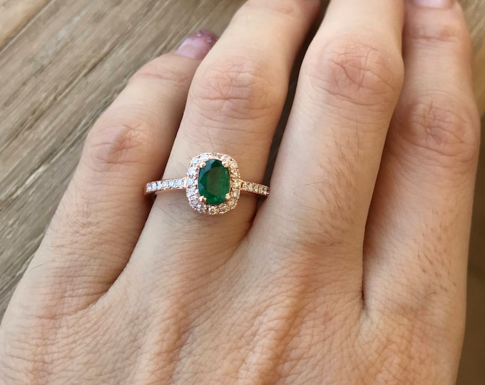 Rose Gold Emerald Ring- Halo Emerald Engagement Ring- Oval Emerald Promise Ring- 10k Rose Gold Engagement Ring- May Birthstone Ring