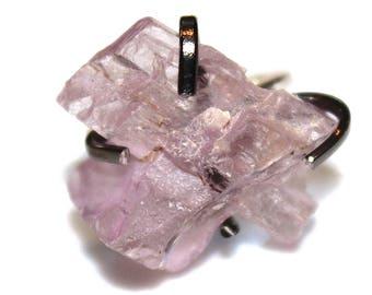Big Pink Kunzite Crystal Ring Kunzite Ring Sterling Silver Ring Adjustable Pink Ring Kunzite Jewelry Crystal Ring Raw Stone Ring Big Ring