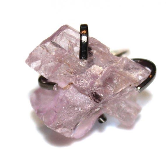 Big Pink Kunzite Crystal Ring