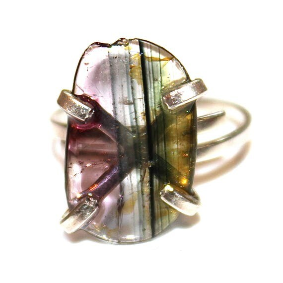 Striped Watermelon Tourmaline Ring in Sterling Silver