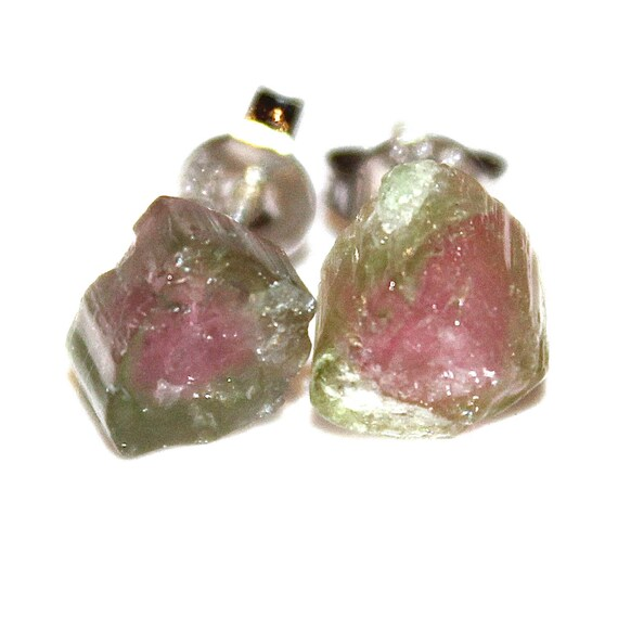 Raw Watermelon Tourmaline Stud Earrings Gifts for Her Gifts for Wife Valentines Gifts for Girlfriend Gifts for Women Best Valentines Gifts