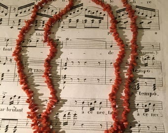 Antique double strand branch Coral necklace