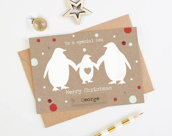 Son Christmas Card - Personalised Penguin Family