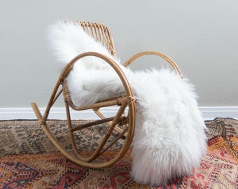 Vintage Child's Rattan Rocking Chair by Franco Albini