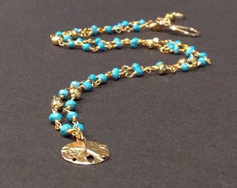 sand dollar necklace, sand dollar pendant, sand dollar charm, gold charm necklace, dainty gold necklace