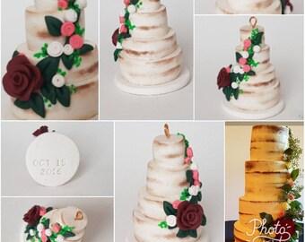 Custom Replica Wedding Cake Ornament, Wedding Keepsake, Custom Clay Miniatures, Anniversary Gift, Clay Cakes, Wedding Miniatures, Mr and Mrs