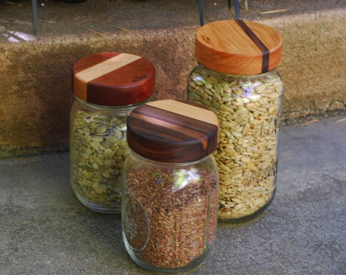 Regular Mouth (3) Wooden Mason Jar Lids with Seal - True screw top - Mixed dual woods