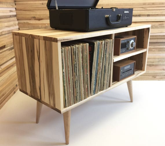 New mid century modern record player console turntable stand