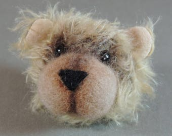 Pin/Brooch Artist Teddy Bear head, Dark backing and Light Tan, OOAK mohair and needle felted face