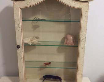 """CURIO WALL CABINET, Arched Wall Cabinet, Curio Cabinet, Collectibles Wall Cabinet, Hollywood Regency Cabinet, 23.5"""" H,  at Ageless Alchemy"""