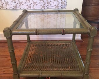 """FAUX BAMBOO TABLE, Faux Bamboo Small Table, 17.75"""" Sq, 2 Tiered Table, Cane Table, Bamboo Cane Table w Glass,Tropical at Ageless Alchemy"""