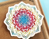 Rainbow Mandala Vinyl Sticker, India Yoga Guru Sticker, Travel Decal, Car Decal, Nature Laptop Decal, Tapestry Sticker, Ethnic Flower Design
