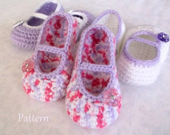 Crochet PATTERN Baby Girl's Booties Sizes 0 - 12 Months Baby Booties Baby Girl Pattern Baby Girl Bootie Pattern Crochet Pattern
