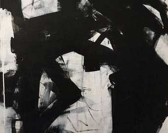 Large Abstract Black and White Wall Art/ Painting