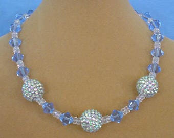 "Sparkling 18"" AB Pave Ball Necklace - N580"